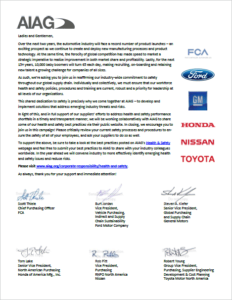 Commitment To Safety Letter